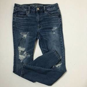 American Eagle High Rise Distressed Jeggings Sz 10